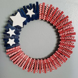 Patriotic clothespin wreath. Very unique! Last one left
