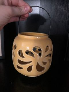 Small Ceramic Yellow Decorative Jar with handle