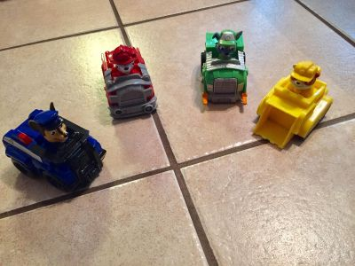 paw patrol cars (chase, rebel, rocky, Marshall) all 4 for $5.00. Located in Bethlehem. Cross posted.