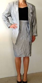 RETRO Silver Skirt Suit