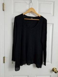 Super Cute A.N.A. Black Thin Long Sleeve Top Size XL. Excellent Condition