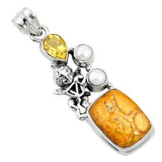 Stylish Druzy, Dumortierite & Fossil Coral Gemstone Silver Jewelry.