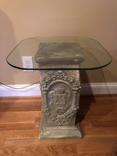 Small Pedestal Side Table With Glass Top