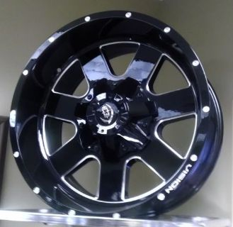"Find 8 Lug 8x165.1 8x6.5 20"" Inch Black n Milled Wheels 20x9 +12mm Set of 4 Rims motorcycle in Decatur, Alabama, United States, for US $850.00"