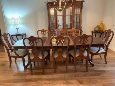 Dining room table and lighted china cabinet
