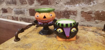 """Dept 56 Cat and Pumpkin Googly Eyed Candle Holders. 2.75"""" T x 4"""" R."""