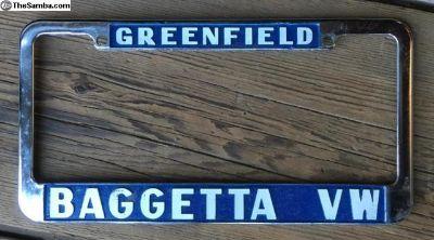 BAGGETTA VW, Greenfield, MA License Plate Frame