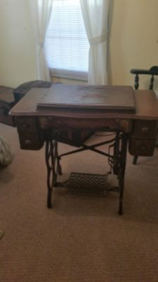 'PROJECT' ANTIQUE TREADLE SEWING TABLE