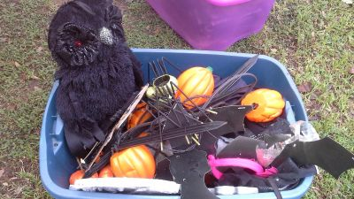 2 TOTES FULL OF HALLOWEEN DEORATIONS