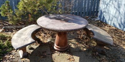 Round Concrete Patio Table with 3 Matching Concrete Benches SET