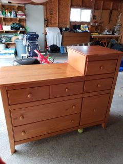 Changing table dresser with 6 drawers