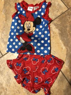 Disney 2PC. Adorable Like New Minnie Mouse Pjs- Top and Shorts. Size 18 Months