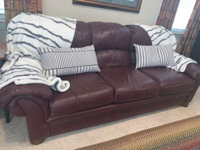 Leather burgundy sofa
