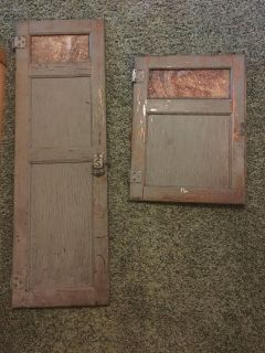 Hoosier cabinet doors with glass inserts at top