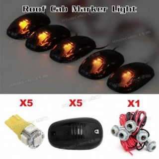 Sell Set/5 Smoke Roof Cab Marker Light +5050-SMD Amber LED Bulb+T10 Harness for Dodge motorcycle in Milpitas, California, United States