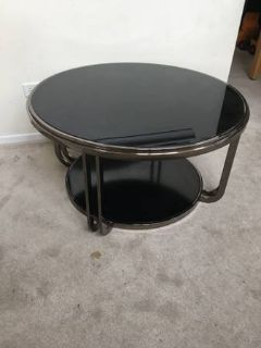 Round Black Glass and Chrome Two Tier Coffee Table