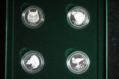 2000 CANADA BIRDS OF PREY PROOF 4-COIN 50-CENT