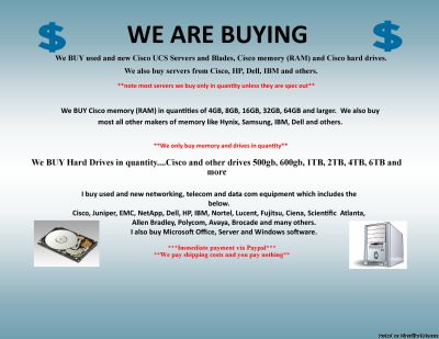 $$$ WANTED TO BUY $$$ WE BUY USED/NEW COMPUTER SERVERS, NETWORKING, MEMORY, DRIVES, CPU S, RAM, DRIVE STORAGE ARRAYS, HARD DRIVES, SSD DRIVES, INTEL & AMD PROCESSORS, DATA COM, TELECOM, IP PHONES & LOTS MORE