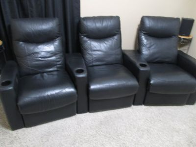 Theater Room Chairs Man Cave Seating - Set of 3
