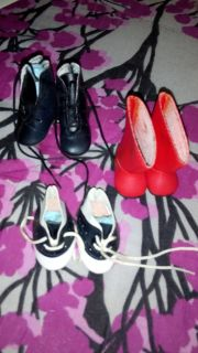 Three Pair Of Really Small Doll Shoes