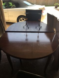 Solid wood Amish dining room table and 6 chairs
