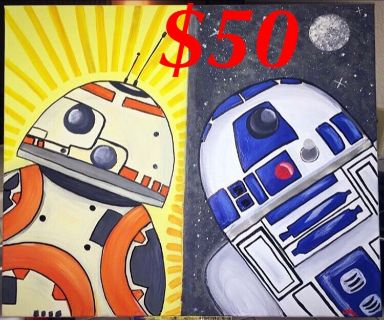 Star Wars droids painting