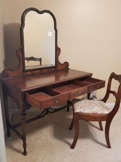 Vanity Table with Mirror and chair from the 1800s