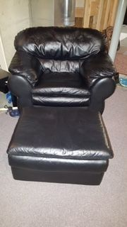 Black Faux Leather Chair and Ottoman