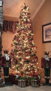 9ft. Slim sno needle pine Christmas tree. All decorations included. Beautiful tree and only one year old.