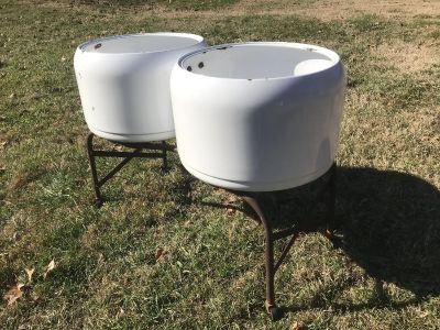 Double Porcelain Wash Tubs on Rolling Stand