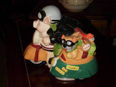Hog Riding A Hog Cookie Jar