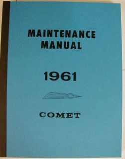 Purchase 1961 Mercury Comet Shop Service Repair Maintenance Manual motorcycle in Holts Summit, Missouri, United States, for US $26.61