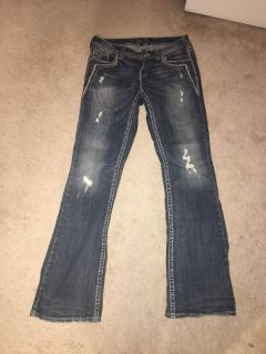 Womens 29/33 silver jeans