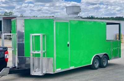 8.5x20TA Electric Green BBQ/Concession Trailer