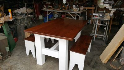 "Farm table and benches 40"" X 60"""