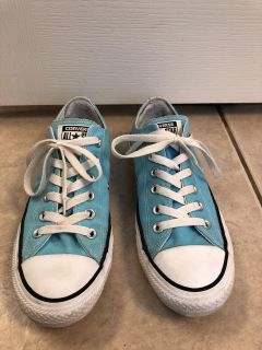 Light blue low top Converse All Star shoes size 8 women