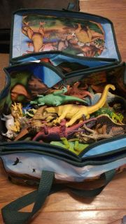 Tote full of dinosaurs