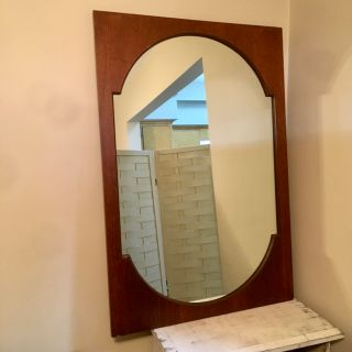 Vintage Walnut Danish modern large mirror