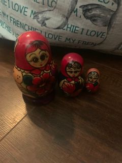 Authentic wooden Russian nesting dolls