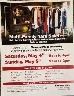 20 - Family Yard Sale - May 4th & 5th - Summit Church, Indiana PA