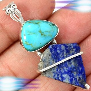 Turquoise and Lapis Rough with Wire Wrap 925 Sterling Silver Pendant - Includes a chain
