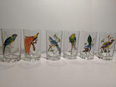 Vintage Crystal Exotic Bird Tumblers