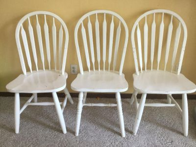 3 Solid Wood Chairs Painted White. Check out what you could do with them