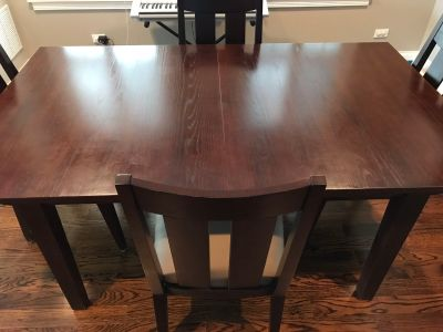 Ethan Allen Dining Room Table with Four Chairs and Two Extension Leaves