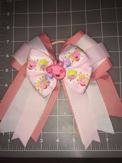 Peppa pig cheer bow on pony tail