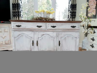 """Gorgeous wood buffet, liquors cabinet or TV stand, Roxton, shabby chic style, 56 long x 19 deep x 33 high"""""""