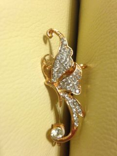 Gorgeous crystals and gold butterfly ear cuff clip