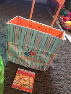 Bitty baby rolling cart and book