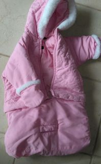 6 Mo. Weathertamer snowsuit, pink quilted jacket unzips