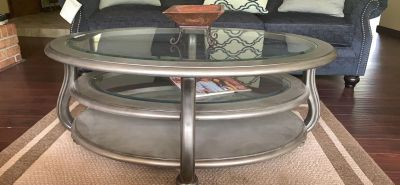 Glass top Oval Coffee Table & End Table